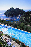 the swimming pool at the Hotel Splendido, Portofino, on the Italian Riviera