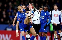 Yohan Benalouane of Leicester City and Richard Keogh of Derby County challenge for the ball - Mandatory by-line: Robbie Stephenson/JMP - 08/02/2017 - FOOTBALL - King Power Stadium - Leicester, England - Leicester City v Derby County - Emirates FA Cup fourth round replay