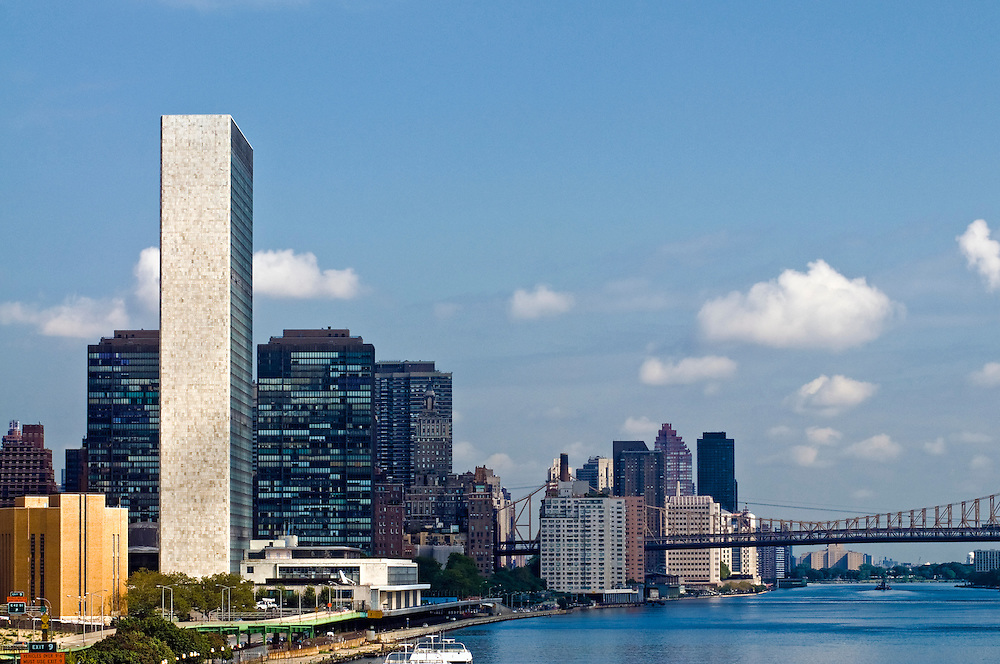 city building side. The United Nations Secretariat building designed by Le Corbusier  New York City