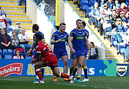 Jack Hughes (R) of Warrington Wolves celebrates scoring his 2nd try of the game against Hull Kingston Rovers during the Betfred Super League match at the Halliwell Jones Stadium, Warrington<br /> Picture by Stephen Gaunt/Focus Images Ltd +447904 833202<br /> 14/04/2018