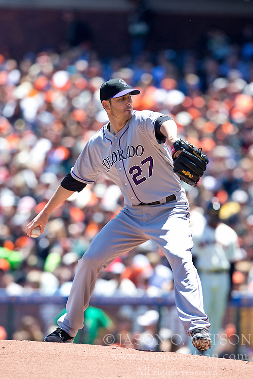 SAN FRANCISCO, CA - MAY 26: Jon Garland #27 of the Colorado Rockies pitches against the San Francisco Giants during the first inning at AT&T Park on May 26, 2013 in San Francisco, California. (Photo by Jason O. Watson/Getty Images) *** Local Caption *** Jon Garland