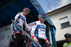 Stage 1 winner, Lotta Lepistö (FIN) of Cervélo-Bigla Cycling Team leaves the podium after signing on for the second, 110.1km road race stage of Elsy Jacobs - a stage race in Luxembourg in Garnich on May 1, 2016.