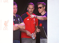 LIVERPOOL, ENGLAND - Monday, May 9, 2016: Liverpool's Robbie Fowler, Jason McAteer and Steve Hothersall at the launch of the New Balance 2016/17 Liverpool FC kit at a live event in front of supporters at the Royal Liver Building on Liverpool's historic World Heritage waterfront. (Pic by David Rawcliffe/Propaganda)