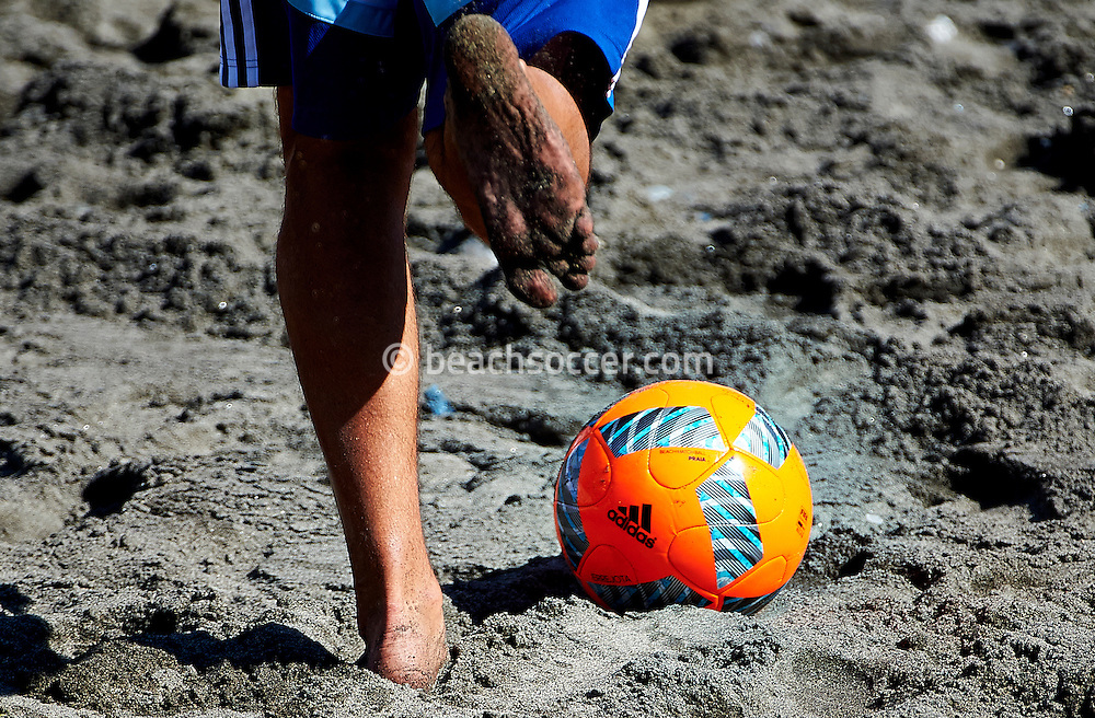 A player strikes a ball during training at the Copa Pilsener 2016.