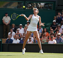 &copy; Licensed to London News Pictures.05/07/18.<br /> London, UK: The Wimbledon Lawn Tennis Championships at All England Lawn Tennis and Croquet Club<br /> Ladies singles - second round<br /> Johanna Konta (GBR) Loses to Dominika Cibulkova (svk)