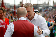 Queens Park Rangers head coach Ian Holloway and Brentford Manager / Head Coach Dean Smith shake hands before kick off during the EFL Sky Bet Championship match between Brentford and Queens Park Rangers at Griffin Park, London, England on 21 April 2018. Picture by Andy Walter.