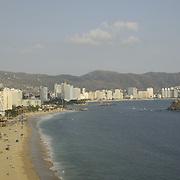View of Acapulco bay from hotel balcony. Guerrero,Mexico.