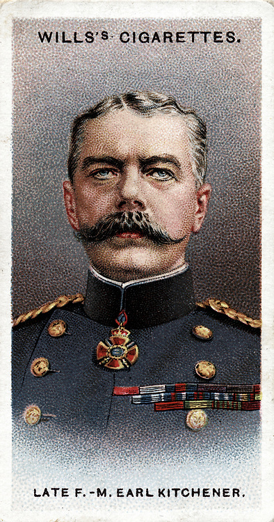 Horatio Herbert Kitchener, 1st Earl Kitchener of Khartoum (1850-1916) Irish-born British soldier and statesman. Regained Sudan for Egypt. Commander-in-Chief South Africa: Secretary of State for War at beginning of World War I in 1914. Lost in the sinking of HMS 'Hampshire'. Chromolithograph card 1917.