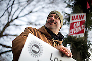KOHLER, WI — DECEMBER 9, 2015: Charles Oddo, employed by Kohler for 29 years in the Engine Plant, looks down the  picket line outside the Kohler facility, Tuesday, December 8, 2015. Around 2,100 Kohler employees and union members are currently maintaining a 24/7 picket line outside the plant.