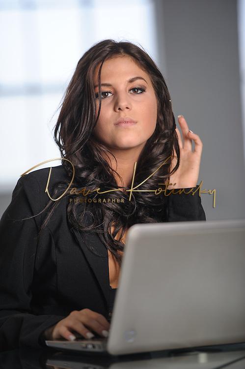 young beautiful woman sexting laptop