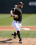 GLENDALE, ARIZONA - FEBRUARY 28:  T.J. House #61 of the Chicago White Sox pitches against the Texas Rangers on February 28, 2018 at Camelback Ranch in Glendale Arizona.  (Photo by Ron Vesely)  Subject:   T.J. House