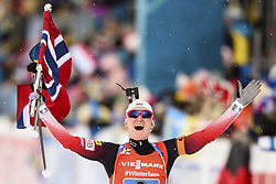 March 16, 2019 - –Stersund, Sweden - 190316 Marte Olsbu Røiseland of Norway celebrates in the Women's 4x6 km Relay during the IBU World Championships Biathlon on March 16, 2019 in Östersund..Photo: Petter Arvidson / BILDBYRÃ…N / kod PA / 92268 (Credit Image: © Petter Arvidson/Bildbyran via ZUMA Press)