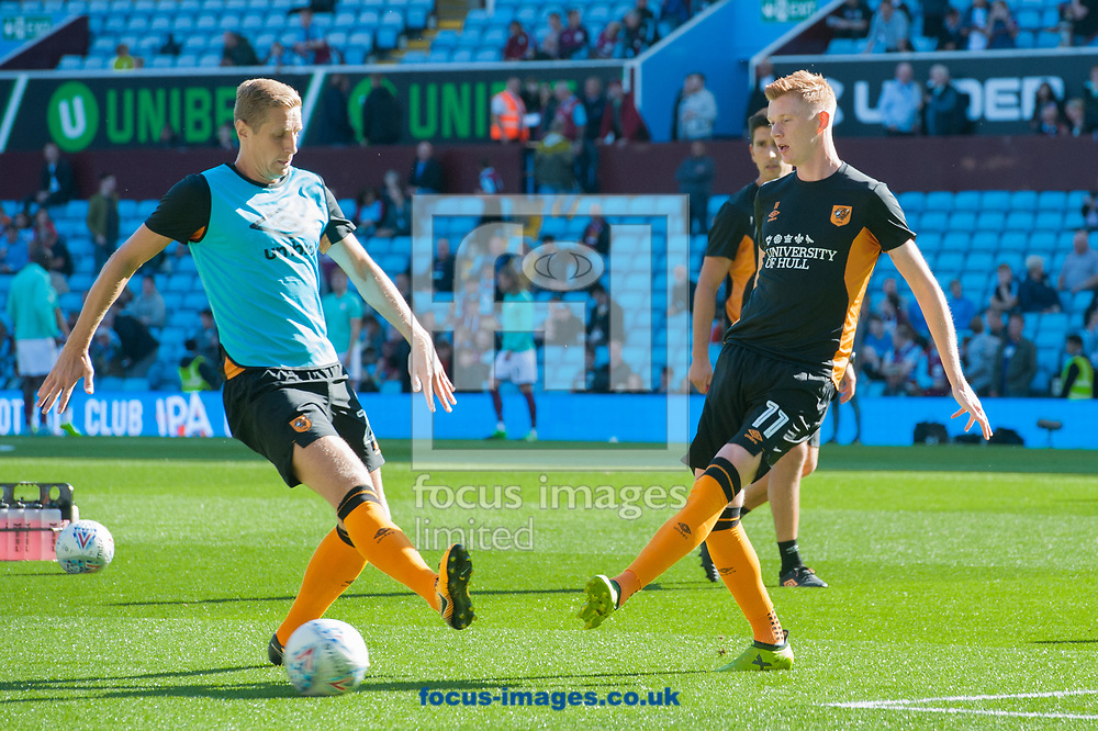 Michael Dawson (left) and Sam Clucas of Hull City warm up prior to the Sky Bet Championship match at Villa Park, Birmingham<br /> Picture by Matt Wilkinson/Focus Images Ltd 07814 960751<br /> 05/08/2017