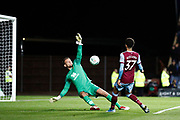 Nathan Holland (37) of West Ham United chips Simon Eastwood (1) of Oxford United but is offside during the EFL Cup match between Oxford United and West Ham United at the Kassam Stadium, Oxford, England on 25 September 2019.