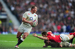 Dylan Hartley of England looks to get past Liam Williams of Wales - Mandatory byline: Patrick Khachfe/JMP - 07966 386802 - 12/03/2016 - RUGBY UNION - Twickenham Stadium - London, England - England v Wales - RBS Six Nations.