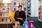 "Franz Kafka ""Doppelgänger"" Marek Lentvorsky (21) portrayed in the library of the Goethe Institut Prag."