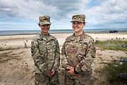 May 30, 2019, Utah Beach,  Normandy, France. Two US GI's from the Airborn division in front of  Utah beach during the 75th anniversary of D-Day and Battle of Normandy commemorations. <br /> 30 Mai 2019, Utah Beach, Normandie, France. Deux soldats américains de la division Airborn devant Utah beach pendant le 75e anniversaire des commémorations du jour J et de la bataille de Normandie.