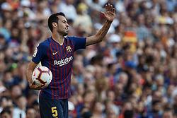 September 29, 2018 - Barcelona, Barcelona, Spain - Sergio Busquets of FC Barcelona reacts during the La Liga match between FC Barcelona and Athletic Club de Bilbao at Camp Nou on September 29, 2018 in Barcelona, Spain  (Credit Image: © David Aliaga/NurPhoto/ZUMA Press)