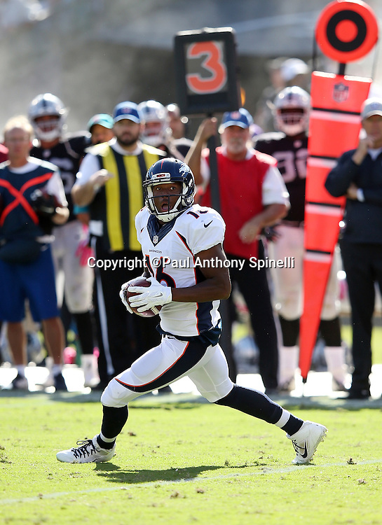 Denver Broncos wide receiver Bennie Fowler (16) catches a third quarter pass during the 2015 NFL week 5 regular season football game against the Oakland Raiders on Sunday, Oct. 11, 2015 in Oakland, Calif. The Broncos won the game 16-10. (©Paul Anthony Spinelli)