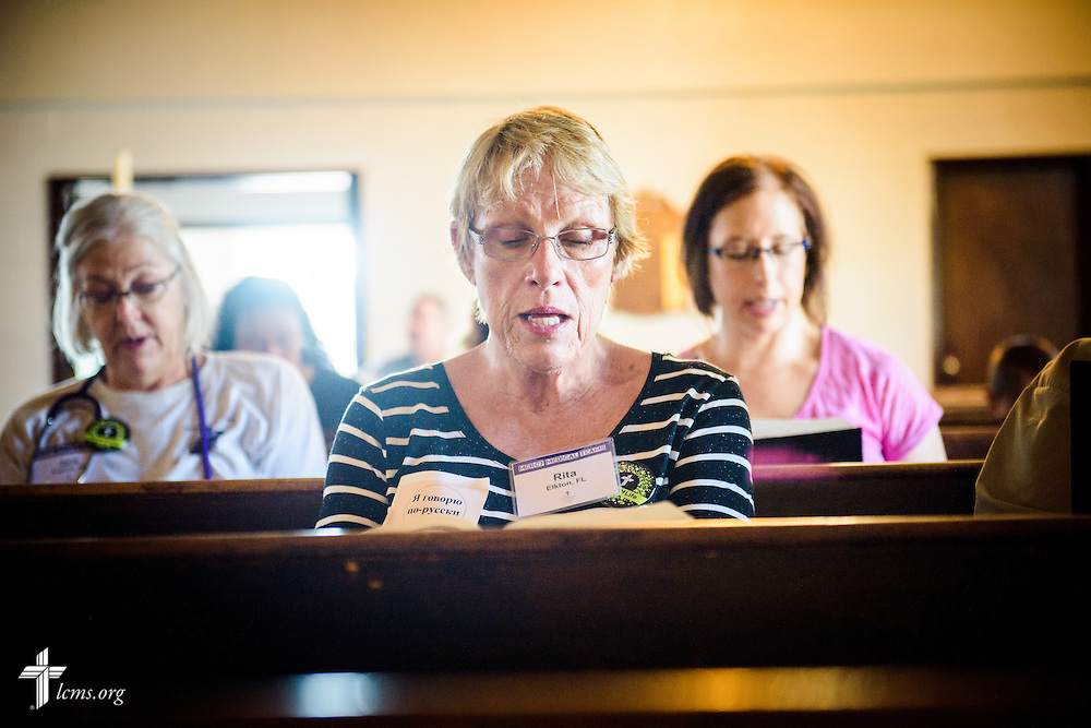 Rita Nickel of Elkton, Fla., and executive director of Lutherans in Medical Missions, sings during morning Matins at the start of the first domestic Mercy Medical Team on Friday, Aug. 26, 2016, at Shepherd of the City Lutheran Church in Philadelphia. LCMS Communications/Erik M. Lunsford