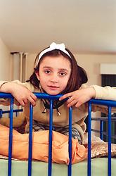 Albanian asylum seeker, child, at reception centre in Leeds UK
