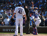 September 15, 2017 - Chicago, IL, USA - Chicago Cubs starting pitcher John Lackey (41) looks on as Cubs catcher Willson Contreras (40) flings his facemask to the ground in the fifth inning as both are ejected from the game against the St. Louis Cardinals at Wrigley Field in Chicago on Friday, Sept. 15, 2017. The Cubs won, 8-2. (Credit Image: © Terrence Antonio James/TNS via ZUMA Wire)