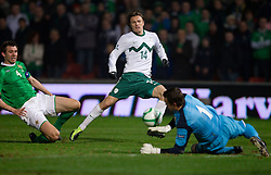 Zlatko Dedic of Slovenia vs Gareth McAuley of Northern Ireland and Lee Camp, goalkeeper of Northern Ireland during EURO 2012 Quaifications game between National teams of Slovenia and Northern Ireland, on March 29, 2011, in Windsor Park Stadium, Belfast, Northern Ireland, United Kingdom. (Photo by Vid Ponikvar / Sportida)