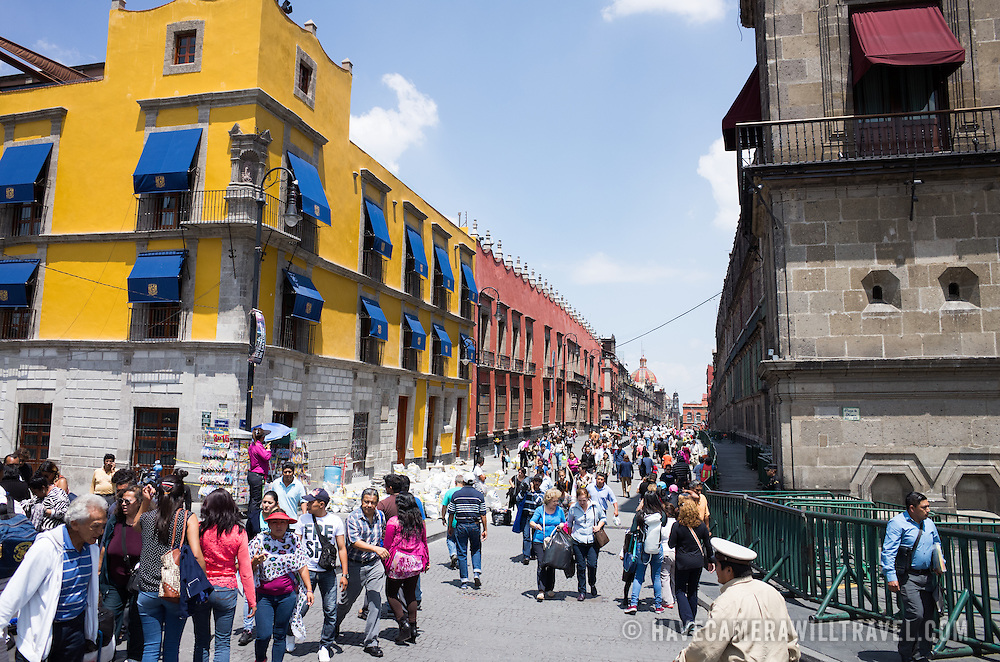 A view down Moneda in Centro Historico in the heart of Mexico City, Mexico.