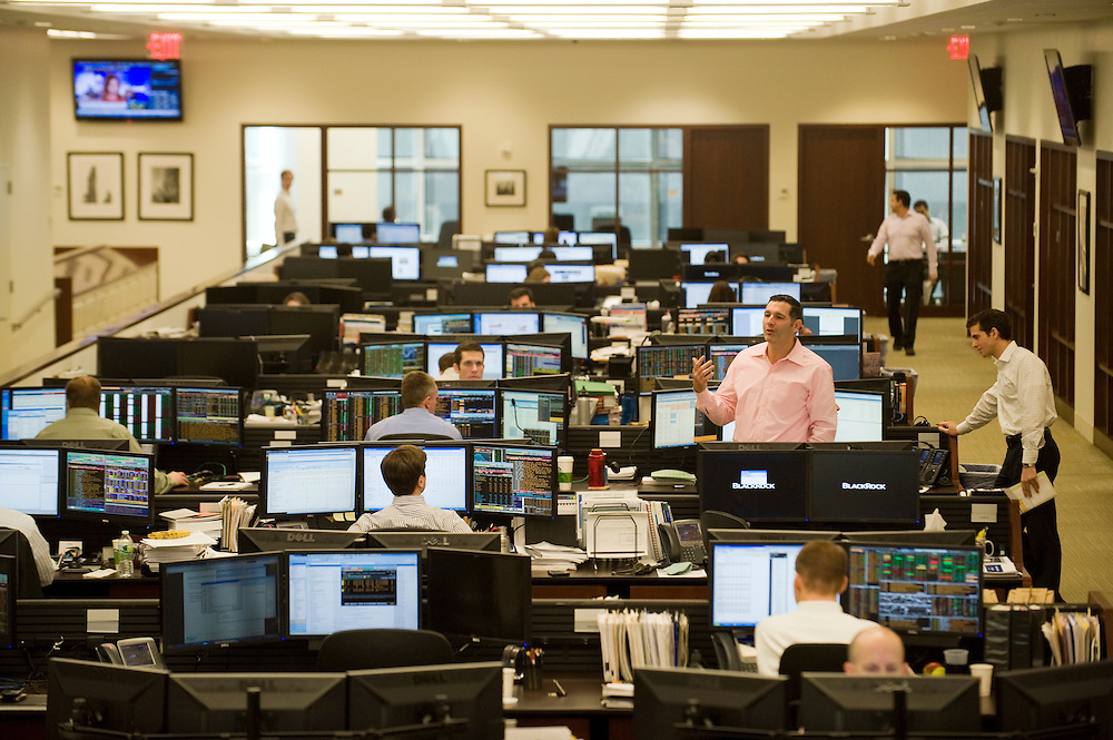 Trading Floor at BlackRock...BlackRock headquarters on 52nd street in Manhattan, New York City..Blackrock is the world's largest money managing company. According to Fortune magazine 'With more than $3 trillion in assets, Larry Fink and his team at BlackRock are the world's largest money managers'.