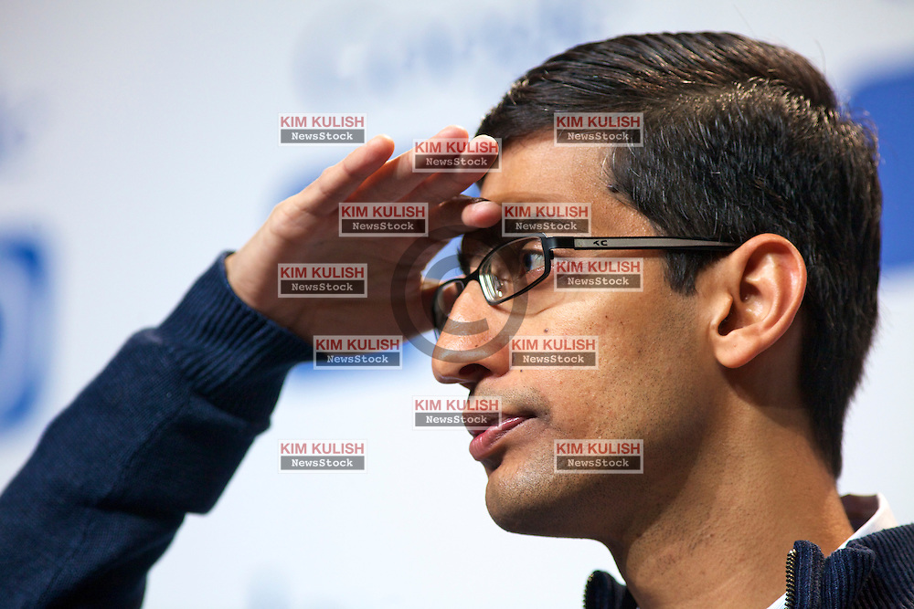 Sundar Pichai, senior vice president of Chrome at Google Inc.,  attends a press conference  at the Google I/O  developer's conference in San Francisco, California.