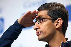 Sundar Pichai, senior vice president of Chrome at Google Inc.,  attends a press conference  at the Google I/O  developer's conference in San Francisco, California.