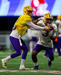 The Louisiana State Tigers practice at the Mercedes Benz Stadium on Dec. 24, 2019, in Atlanta. LSU will face Oklahoma in the 2019 College Football Playoff Semifinal at the Chick-fil-A Peach Bowl. (Jason Parkhurst via Abell Images for the Chick-fil-A Peach Bowl)