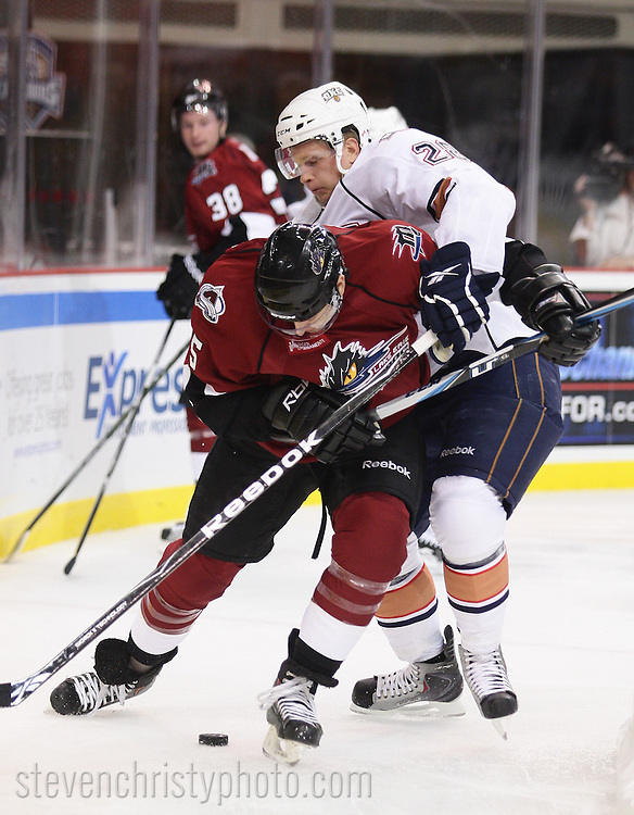 October 16, 2010: The Oklahoma City Barons play the Lake Erie Monsters in an American Hockey League game at the Cox Convention Center in Oklahoma City.
