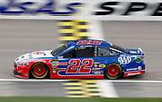 Cup Series driver Joey Logano crosses the start, finish line during a practice run at Kansas Speedway in Kansas City, Kan., Friday, May 11, 2018. (AP Photo/Colin E. Braley)