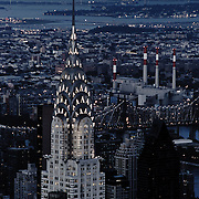 Chrysler Building. Skyline of New York by night as seen from the Empire State Building.