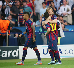 06-06-2015 GER: UEFA Champions League final Juventus - Barcelona, Berlin<br /> Lionel Messi (FC Barcelona #10), Luis Suarez (FC Barcelona #9) und Ivan Rakitic (FC Barcelona #4) beim Torjubel nach dem Treffer zum 1:0  during the UEFA Champions League final match between Juventus FC and Barcelona FC at the Olympia Stadion in Berlin<br /> <br /> ***NETHERLANDS ONLY***