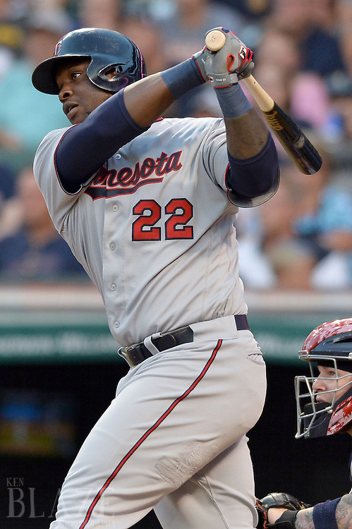 Aug 2, 2016; Cleveland, OH, USA; Minnesota Twins designated hitter Miguel Sano (22) hits an RBI double during the fourth inning against the Cleveland Indians at Progressive Field. Mandatory Credit: Ken Blaze-USA TODAY Sports