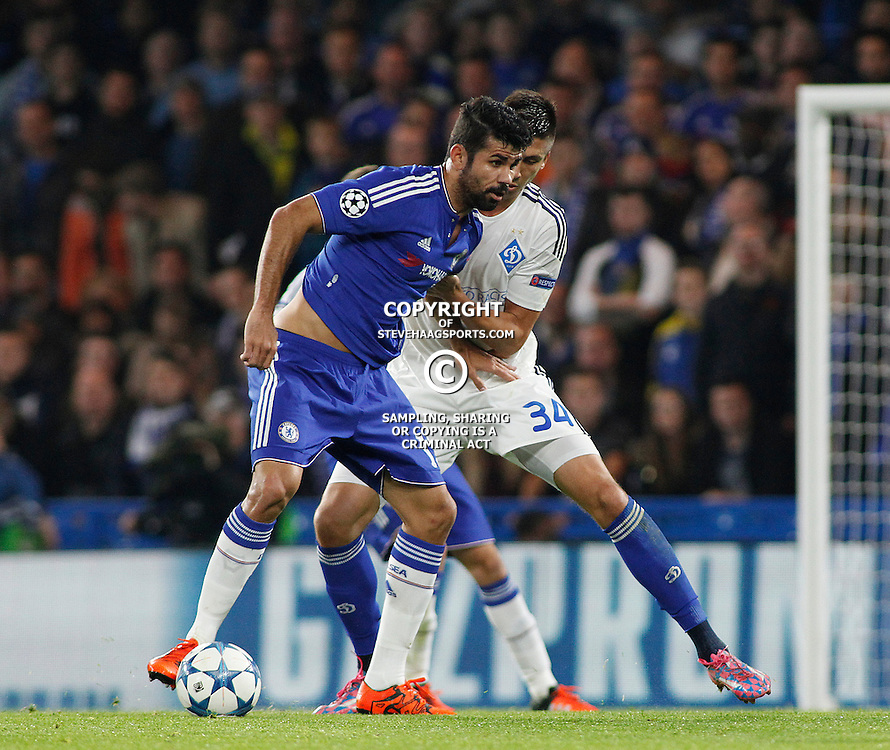 LONDON, ENGLAND - NOVEMBER 04: Diego Costa of Chelsea  and Yevhen Khacheridi of Dynamo Kyiv compete for the ball during the Champions League match between Chelsea and Dynamo Kyiv at Stamford Bridge on November 04, 2015 in London, United Kingdom. (Photo by Mitchell Gunn/Getty Images) *** Local Caption ***Diego Costa;Yevhen Khacheridi