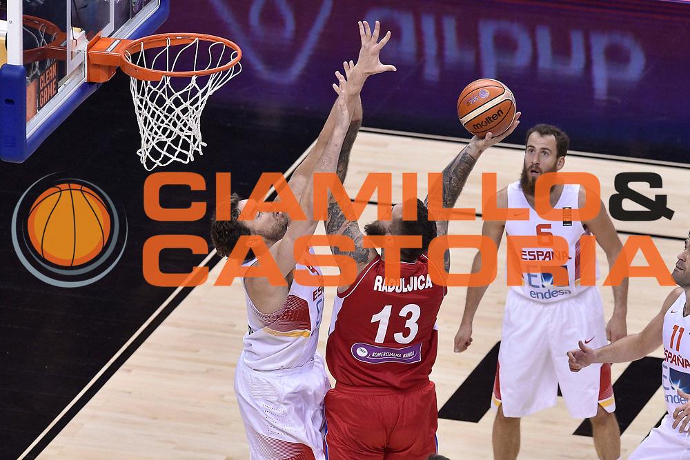DESCRIZIONE : Berlino Berlin Eurobasket 2015 Group B Spain Serbia<br /> GIOCATORE : Miroslav Raduljica<br /> CATEGORIA : Tiro<br /> SQUADRA : Serbia<br /> EVENTO : Eurobasket 2015 Group B<br /> GARA : Spain Serbia <br /> DATA : 05/09/2015<br /> SPORT : Pallacanestro<br /> AUTORE : Agenzia Ciamillo-Castoria/M.Longo<br /> Galleria : Eurobasket 2015<br /> Fotonotizia : Berlino Berlin Eurobasket 2015 Group B Spain Serbia