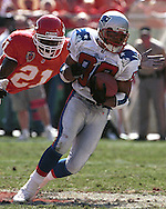 New England Patriot wide receiver Terry Glenn (88) during game action against the Kansas City Chiefs at Arrowhead Stadium in Kansas City, Missouri on October 10, 1999.