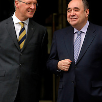 EDINBURGH, UK - 14th May 2010: First Minister for Scotland Alex Salmond and finance secretary for Scotland Alex Swinney wait to greet Prime Minister David Cameron on the steps of St Andrews House in Edinburgh this afternoon...(Photograph: Richard Scott/MAVERICK)
