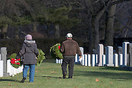 West Point, New York - The fourth annual West Point and Wreaths Across America ceremony was held the West Point Cemetery at the United State Military Academy on Dec. 7, 2013. Volunteers placed 2074 wreaths at graves in the cemetery.
