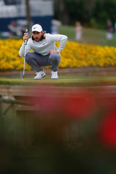 March 16, 2019 - Ponte Vedra Beach, FL, U.S. - PONTE VEDRA BEACH, FL - MARCH 16: Tommy Fleetwood of England lines up a putt on the 17th hole during the third round of THE PLAYERS Championship on March 16, 2019 on the Stadium Course at TPC Sawgrass in Ponte Vedra Beach, Fl. (Photo by David Rosenblum/Icon Sportswire) (Credit Image: © David Rosenblum/Icon SMI via ZUMA Press)
