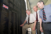 Korean War veterans (from r to l) John Leese, Ernest Moscrop and Robison Brown, look at the names of fellow British soldiers who died during the Krean War at the National War Museum in Seoul, South Korea on 23 June, 2010..Photographer: Rob Gilhooly .