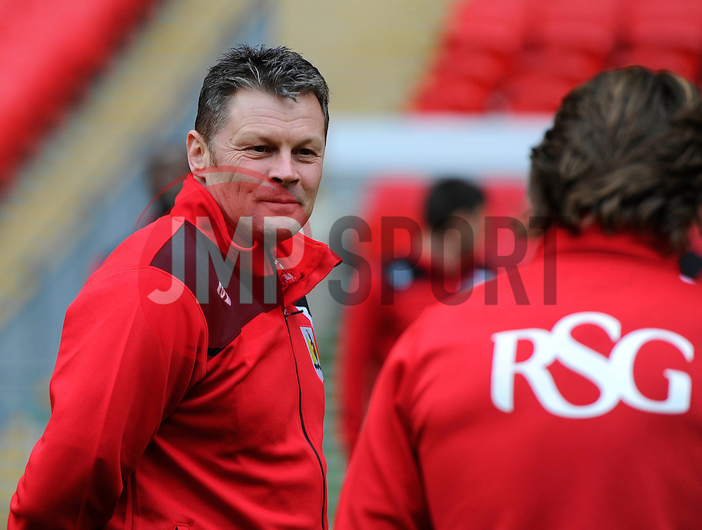 Bristol City manager, Steve Cotterillpitch speaks with Bristol City's Luke Freeman  side at Wembley Stadium  - Photo mandatory by-line: Joe Meredith/JMP - Mobile: 07966 386802 - 19/03/2015 - SPORT - Football - London - Wembley - Johnstone Paint Trophy