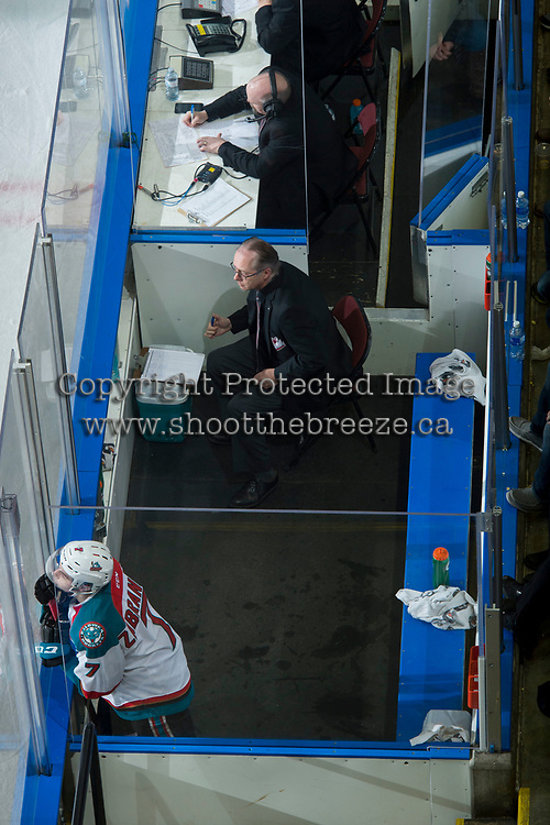 KELOWNA, CANADA - FEBRUARY 24: Libor Zabransky #7 of the Kelowna Rockets sits in the penalty box during third period against the Kamloops Blazers on February 24, 2018 at Prospera Place in Kelowna, British Columbia, Canada.  (Photo by Marissa Baecker/Shoot the Breeze)  *** Local Caption ***