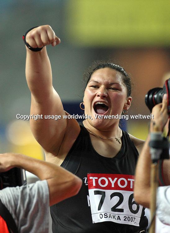 Valerie Vili celebrates. Shot put. World Athletics Championships at Osaka, Japan. 26 August 2007. Photo: DPA/PHOTOSPORT #NO AGENTS#