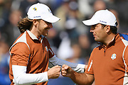 Tommy Fleetwood (Eng) and Francesco Molinari (Ita) during the saturday morning fourballs session of Ryder Cup 2018, at Golf National in Saint-Quentin-en-Yvelines, France, September 29, 2018 - Photo Philippe Millereau / KMSP / ProSportsImages / DPPI