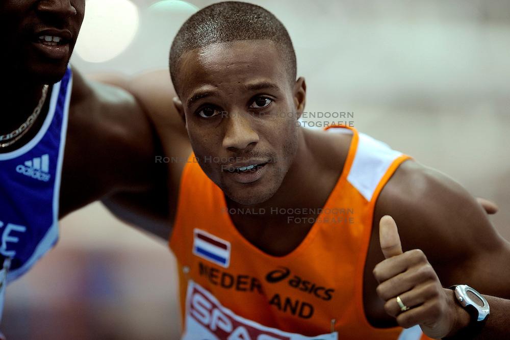 06-03-2009 ATLETIEK: EK INDOOR: TURIJN <br /> Gregory Sedoc wint de zilveren medaille op de 60 meter horden <br /> &copy;2009-WWW.FOTOHOOGENDOORN.NL