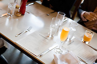 8 October, 2008. New York, NY. Menus and orange juice are here on a table of the Cookshop Restaurant & Bar in Chelsea, NYC.<br /> <br /> ©2008 Gianni Cipriano for The New York Times<br /> cell. +1 646 465 2168 (USA)<br /> cell. +1 328 567 7923 (Italy)<br /> gianni@giannicipriano.com<br /> www.giannicipriano.com